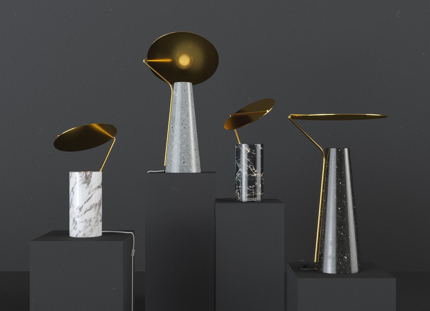 黄铜与大理石的结合,flo灯具设计-格物者-工业设计源
